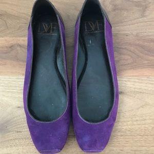 Diane Von Furstenberg suede purple flats.